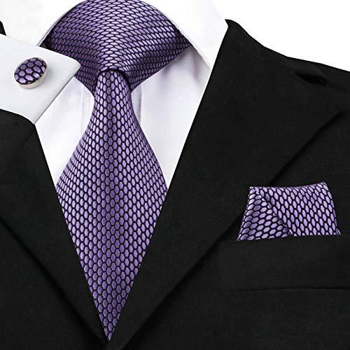 HYCZJH Geometrisches Muster Lila Krawatte Set Seide Designer Hankychief Manschettenknöpfe Set für Herren Anzug -