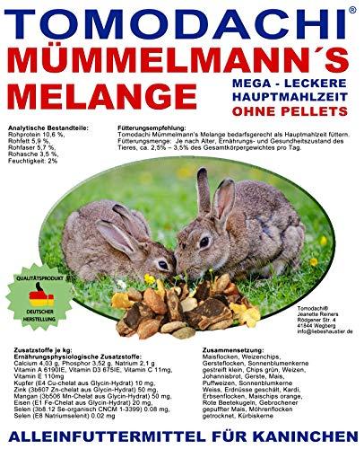 Tomodachi Kaninchenfutter natürlich, pelletfrei - Gemüse, Möhrenflocken, Erbsenflocken, Getreide, Nüsse, Sonnenblumenkerne, Kräuter, Alleinfuttermittel Kaninchen, Mümmelmanns Melange 10kg Sack -