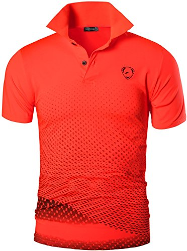 jeansian Herren Summer Sportswear Wicking Breathable Short Sleeve Quick Dry Polo T-Shirts Wicking Breathable Running Training Sports Tee Tops LSL195 Orange