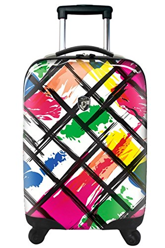 ... 50% SALE ... PREMIUM DESIGNER Hartschalen Koffer - Heys Novus Art Monarch Rainbow - Trolley mit 4 Rollen Gross Brush Strokes