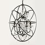 Miaoge Amerikanische Landschaft Luxus gehobenen Kristall Anhänger Persönlichkeit Nordic Wohnzimmer Globe retro Kristall Eisen Kronleuchter 60cm