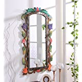 999Store Wooden Hand Crafted Handmade Painted Decorative Wall Mirror Multicol.