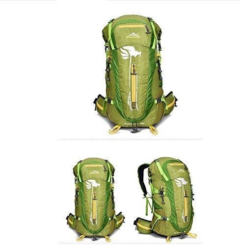 Wasserdichtes Nylon Streifen weibliche Reise Tasche Reisen outdoor Rucksack große Radfahren wasserdichte Taschen für Männer und Frauen 50L Green