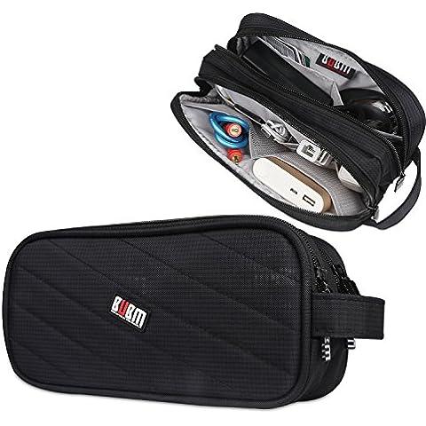BUBM Lleva la caja del cargador impermeable/Electrónica Accesorios de viaje Bolsa Organizador (Grande, Negro)