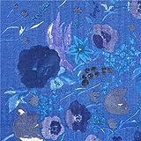 Kokka Blaue doppellagige Gaze mit dunkelblauen Blüten
