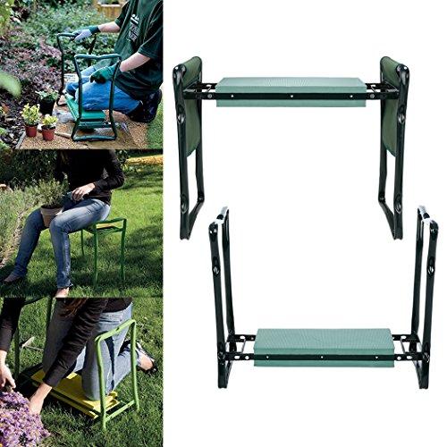 Meditool Kniebank Garten für Gartenarbeit Klappbar mit Werkzeugtasche EVA-Schaumkissen 60 x 27 x 49 cm (Grün 1)
