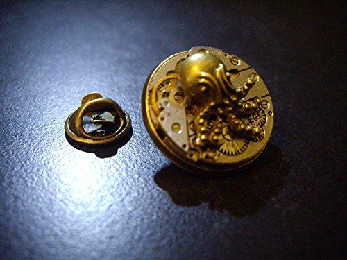 Herren Steampunk Uhrwerk Anstecknadel Abzeichen mit Messing Ocotopus Logo (Plakette Abzeichen)