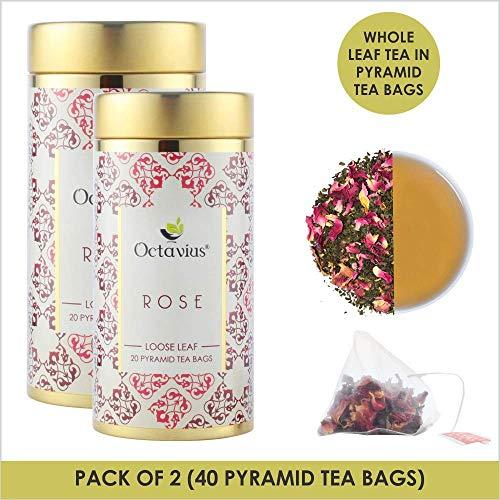 Octavius Rose Green Tea Whole Leaf Pyramid - 20 Pyramid Tea Bags (Pack of 2) - 40 gm (1.41 OZ) Each Pack Rose-iced Tea