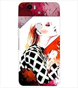Fuson Style Girl Back Case Cover for HUAWEI NEXUS 6P - D4020