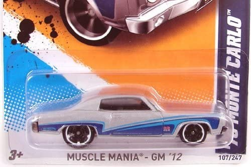 Hot Wheels Wheels Wheels - '70 Monte Carlo (Silver w/ Blue Stripes) - Muscle Femmeia, GM '12 - 7/10 ~ 107/247 [Scale 1:64] 848d96