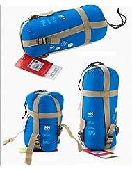 JZK® ultra ligero, cálido saco de dormir saco de dormir de algodón pequeña, acampar al aire libre impermeable dormir saco de dormir de verano Bolsa, apto para cuatro temporadas (azul claro)