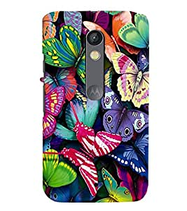 printtech Colorful Butterfly Back Case Cover for Motorola Moto X Play Dual SIM