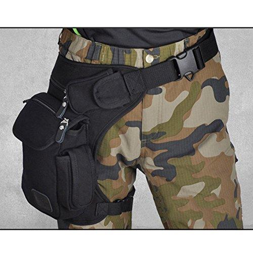 HOMYY Bolsa de lona para la cintura, piernas, mochila de viaje, bolsa de lona para correr, casual, deportes al aire libre, negro