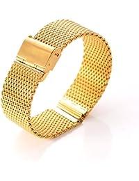 Correa de reloj, XINGDONGCHI 22mm Inoxidable Acero Correa Metal Banda para Motorola Moto 360 SmartWatch y Lg G Watch R W100 W110, urbano, Guijarro, Samsung Gear 2 Neo (Milanés Malla /oro)