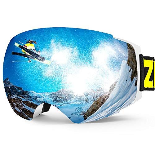 ZIONOR X4 Maschera da Sci Occhiali da Sci e Snowboard Magnete Doppio sferico Lente Antinebbia Protezione UV Antiscivolo Cinghia per Uomo Donna