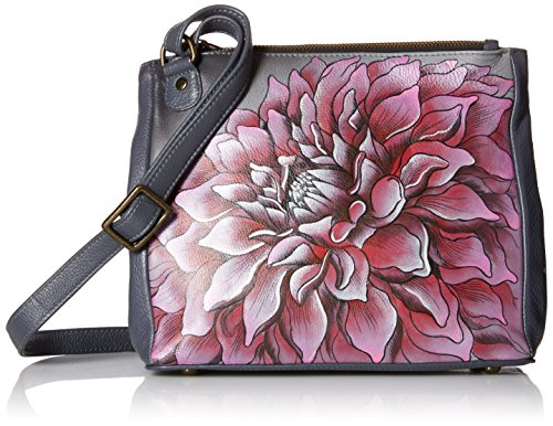 Anuschka peint à la main de luxe en cuir - 525 Triple Compartiment sac Convertible - Multicolore - Rousseau's Jungle, Multicolore - Dreamy Dahlias- Pink