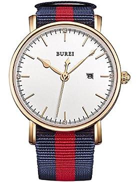 BUREI Damen Quarz Armbanduhr Datumsanzeige kratzfestes Saphirglas mit Textilband