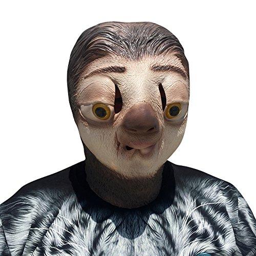 Faultier Sloth Maske mask aus sehr hochwertigen Latex Material mit Öffnungen an Augen Halloween Karneval Fasching Kostüm Verkleidung für Erwachsene Männer und Frauen Damen Herren gruselig Grusel Zombie Monster Dämon Horror Party