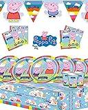 Party-Set Peppa Pig (Peppa Wutz) für Kindergeburtstage, für 8, 16, 24 oder 32 Personen, mit Banner