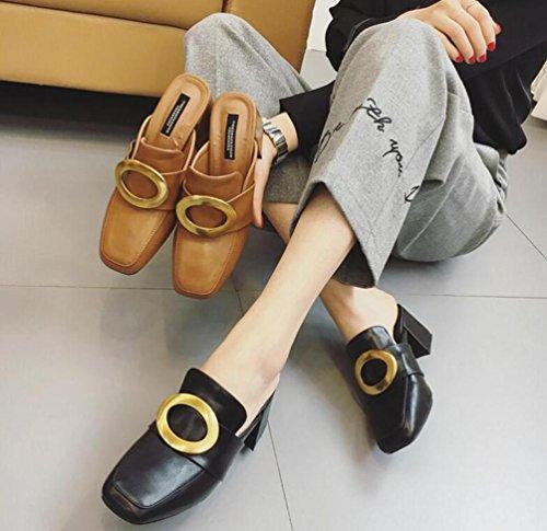 Mules OL quadrati della matrimonio Toe grossolana medio tallone cintura Wearable femminile donne Pantofole Casuales UE formato 35–39 nero