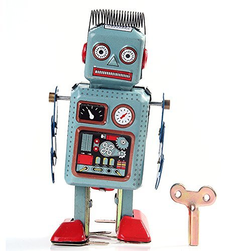 Retro Clockwork Wind Up Tin Robot Toy - No batteries required!