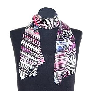 Damen Schaltuch Victoria schwarz, ca. 36 x160 cm, Schal mit Streifen Muster, modisch aktuelles Halstuch