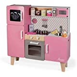 """Janod J06571 """"Macaron"""" Maxi träspis för barn, utrustad med ett kylskåp och en mikrovågsugn, fantasispel, med 15-delad tillbeh"""