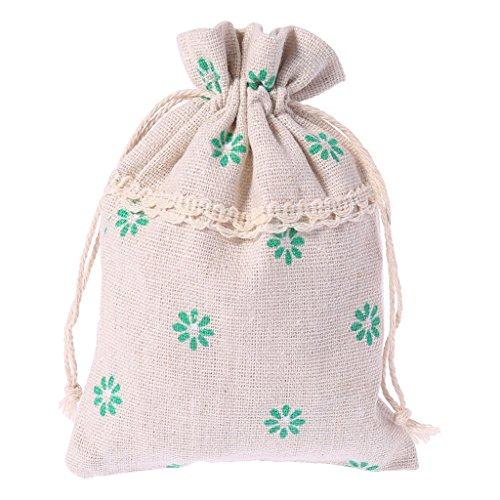 LANDUM Weihnachten Baumwolle Leinen Sack Kordelzug Jewelry Tasche Candy Tasche Favor Geschenk Halter, Baumwoll-Leinen, grün, App.9.5cmx13cm/3.74inx5.12in - Ziploc-beutel-halter
