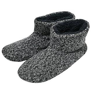 COFACE Herren Hochwertige Gefütterte Hausschuhe Warme Rutschfest Winter Hüttenschuhe für Outdoor/Indoor,Black-Size 11