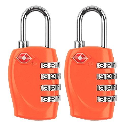 MIDWEC Nouvelle Version Lot de 2 Cadenas de Sécurité à Combinaison de 4 Chiffres Cadenas a Code pour Valise Bagages Approuvé par la TSA (Orange)