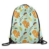 Unisex Lovely Squirrels and Pineal Print Drawstring Backpack Rucksack Shoulder Bags Gym Bag Sport Bag