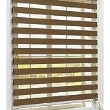 Estor noche y día enrollable PREMIUM (desde 40 hasta 250cm de ancho) con cajón de ALUMINIO blanco tejido color marrón. Medida 200cm x 300cm para ventanas y puertas