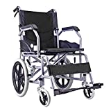 ACEDA Transport Wheelchair With Lightweight Steel Frame, Antimicrobial Protection,11KG Folding Chair Is Portable, Large 39Cm Back Wheels,Black