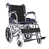 ACEDA Faltbarer Rollstuhl Mit Rutschfest Armlehnen,11Kg Leichter Dicker Stahl,Transportrollstuhl Reiserollstuhl,Schwarz,Black