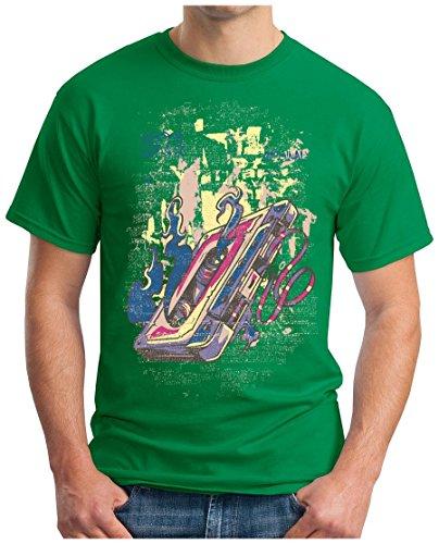 OM3 - Camiseta - Manga Corta - para Hombre Verde X-Large