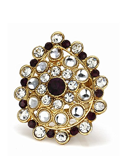 Bindhani Ethnic Traditional Gold Plated Purple Adjustable Kundan Finger Ring For Women  available at amazon for Rs.154