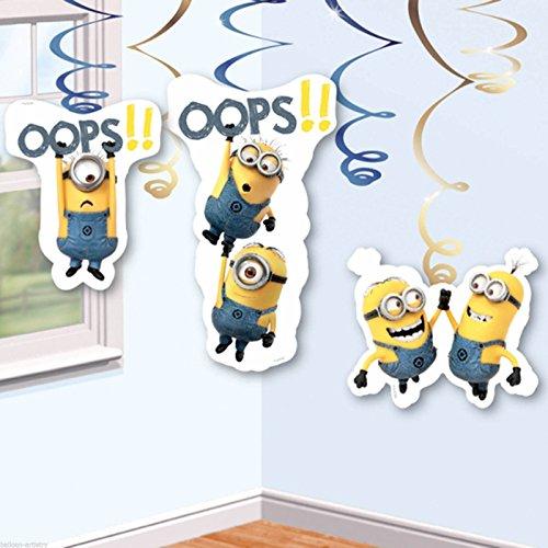 Amscan gelben Minions wirbeln Dekorationen 6 (Minion Party Dekorationen)