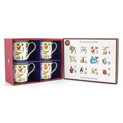 Leonardo Navidad regalos 12DÍAS de Navidad taza, multicolor, Set de 4