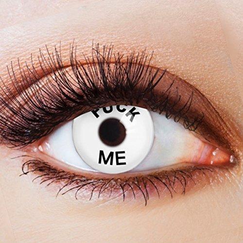 Farbige Kontaktlinsen Motivlinsen Ohne Stärke mit Motiv Fun Linsen für Halloween Karneval Party Fasching Cosplay Kostüm Fück Me (404 Halloween Kostüm)