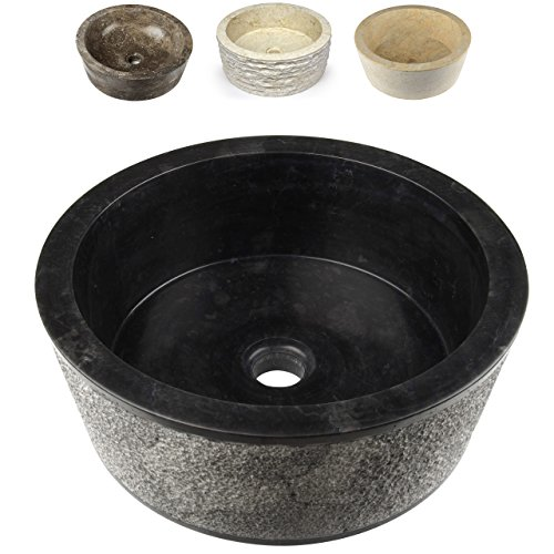 Divero Designbecken Marmor Naturstein Aufsatz-Waschbecken Palermo Handwaschbecken Waschschale Stein poliert rund schwarz