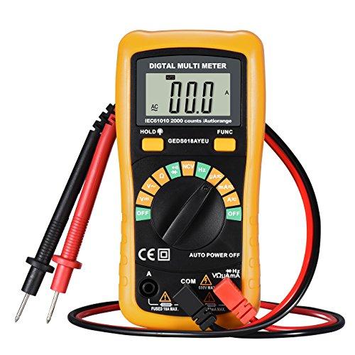 Topop Multimetro Digitale con NCV Caratteristica , Amp / Volt / Ohm Meter, Auto-ranging Multitester / VOM per Misurare la Tensione / Corrente / Resistenza / Frequenza / Diodo / Continuità / Diode con Retroilluminazione LCD Display, Giallo