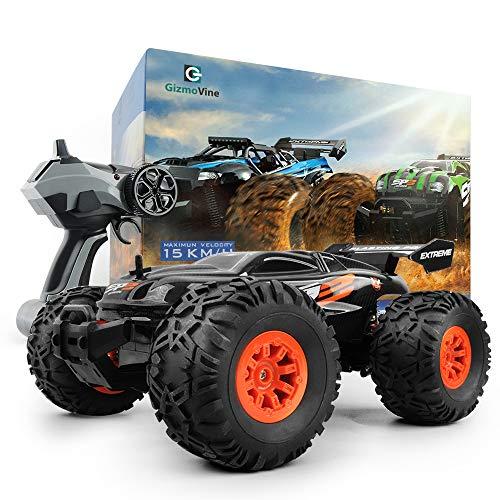GizmoVine RC Coche Teledirigido Vehículo Hobby, 1/18 Monster Truck 2.4GHz Gran Neumático Coches Radiocontrol Juguetes RTR Vehículo Afición Eléctric Camión Monstruo para Niños y Adultos (Noir)