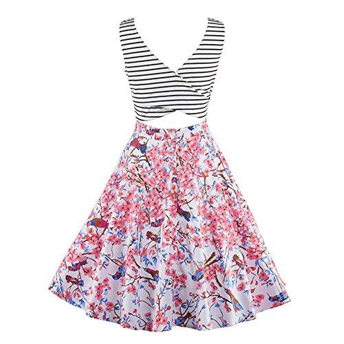 iShine ALinien Kleider Damen knielang Kleider Skaterkleid Minikleid  Ärmellose Kleider Kurz Partykleider mit Streifen Pink