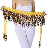 LaoZanA Donna Cintura di paillettes In Sciarpa per Danza del Ventre Orientale multicolore Taglia unica QC Giallo