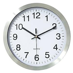 Funkuhr Wanduhr Lautlos, Foxom Metall Radio Funkwanduhr Geräuschlos Funk wanduhr Funkuhr Küchenuhr, 30 cm / 12 Zoll
