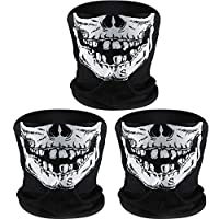 Tatuo 3 Pack Skull Face Mask Half Sun Dust Protection Tube Mask Durable Bandana Skeleton Motorcycle Fishing Hunting Cycling Riding Festival Neck Gaiter