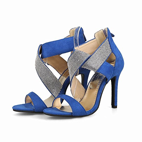 Mee Shoes Damen high heels Reißverschluss Nubukleder Sandalen Blau