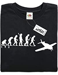 Mans Evolution T-Shirt® EVO Mens Ape to Plane Aeroplane Pilot brand new original gift present