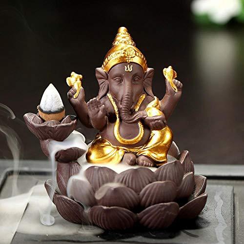 Quemador de incienso con diseño de elefante tailandés, soporte de incienso de cerámica con 10 conos de incienso D marrón