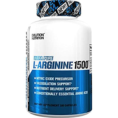 Evlution Nutrition L-Arginine 1500 mg | Ultra-Pure Nitric Oxide Supplement | Muscle Growth & Vascularity | Energy & Stamina | Powerful NO Booster | Essential Amino Acids | 100 Capsules by Evlution
